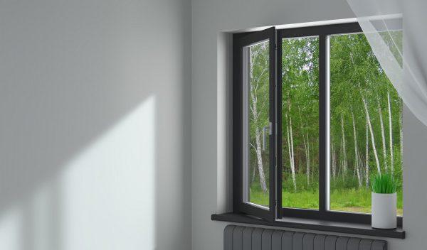 fekete műanyag ablak